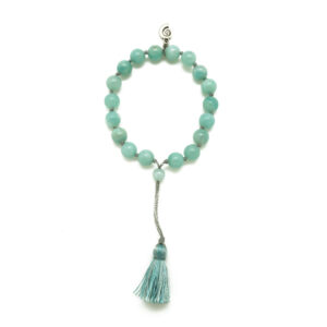 Amazonite Mini Tassel Bracelet with Aquarius Wellness Nautilus Charm (8MM)