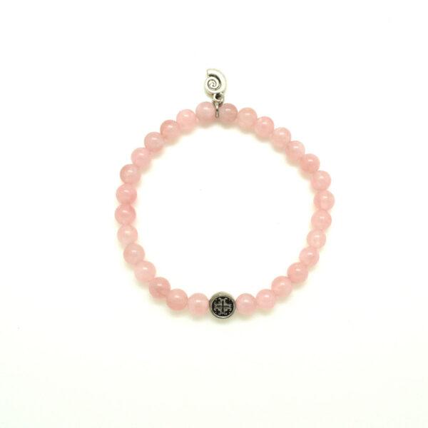 Rose Quartz Faceted Elastic Bracelet with Aquarius Wellness Nautilus Charm (6MM)